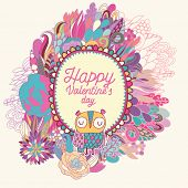 Stylish floral card made of cute flowers, fantasti? burst and cartoon owl in bright colors in vector. Awesome cartoon card for romantic holiday designs