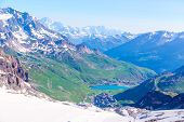 View from the Grande Motte glacier at Tignes, French Alps.