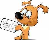 Cute Dog Peeking Holding A Sign With The Inscription - Vector Illustration