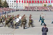 Russian Military Orchestra March At The Parade On Annual Victory Day