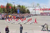 Russian Military Women Orchestra March At The Parade On Annual Victory Day