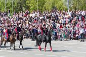 Russian Cossacks At The Parade On Annual Victory Day