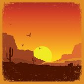 stock photo of wild west  - American wild west desert on old paper texture - JPG