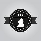 VIntage black logo design a man in hat