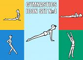 Set of yoga poses. Boy in recreation activities