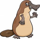 stock photo of platypus  - Cartoon Illustration of Funny Platypus or Duckbill Animal - JPG