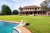 foto of mansion  - Double story house family mansion home with swim pool on countryside estate - JPG