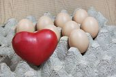 Heart And Eggs On Paper Panel