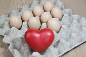 Heart And Eggs On Paper