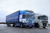 Scania 164L Topline And DAF Semi Trucks Parked