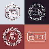Vector Free Labels And Badges In Outline Style