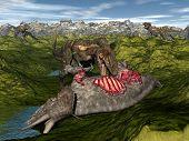 Nanotyrannus eating triceratops dinosaur - 3D render