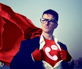 Strong Superhero Businessman Telecommunication Concepts