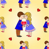 Seamless Texture Children And Hearts Valentines Day Vector