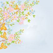 Spring Shrub With Flowers Vector