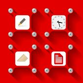 Four red Icons
