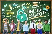 Online Security Protection Internet Safety Learning Education Concept