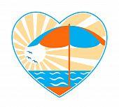 Beach Umbrella, Sea And Sun In Heart