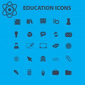 education, science icons, signs, illustration isolated on background set, vector