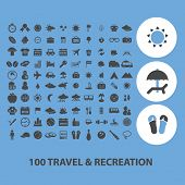100 travel, recreation black icons, signs, vector illustrations