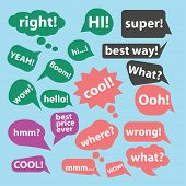 speech, chat, bubble icons, signs, illustrations set, vector