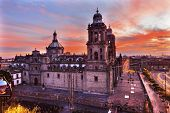 Metropolitan Cathedral Zocalo Mexico City Sunrise