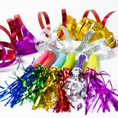 Party Horn Blower With Colored Streamers On White Background
