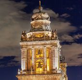 Metropolitan Cathedral Steeple Bells Statues Zocalo Mexico City At Night