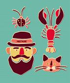 Cartoon beetle, crayfish, cat and man with mustache. Vector illustration.