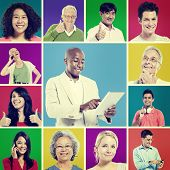 Multi Ethnic Group of People Digital Communication Concept