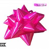 Realistic beautiful pink bow isolated on white. EPS10 vector.