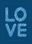 Vector blue white lineart plants love text frame pattern invitation greeting card template