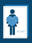 Vector blue white lineart plants woman in love silhouette frame pattern invitation greeting card tem