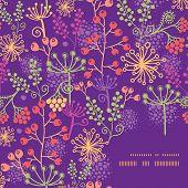 Vector colorful garden plants frame corner pattern background