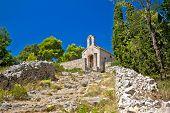 Old Stone Chapel On Hill Of Hvar