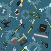 Metal Work Tools Background. Seamless, Pattern