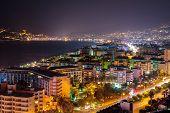 Coast in Alanya at night