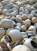 Clay Bowls & Tea Pots  Drying In The Sun, Vietnam