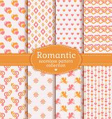Love And Romantic Seamless Patterns. Vector Set.