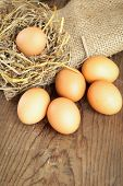 Yellow Organic Eggs With Straw