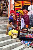 Woman at Souvenir and Handicraft Stand in La Paz, Bolivia