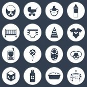 Set of simple baby care icons