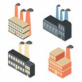 Set of isometric factory icons