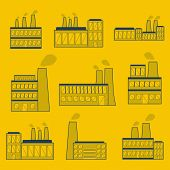 Set of thin factory icons