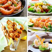 collage of various food shrimp (salad, canapes, skewers)
