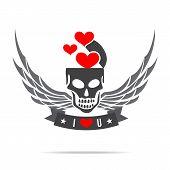 Skeleton Skull With Wing Logo Emblem Vector Illustration Element 002