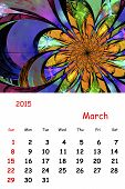 2015. March. Calendar With Beautiful Fractal Pattern.