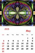 2015. May. Calendar With Beautiful Fractal Pattern.