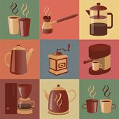 Equipment For Making Coffee, Icons Set