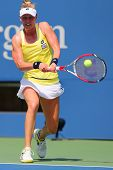 Professional tennis player Alison Riske from USA during US Open 2014 match